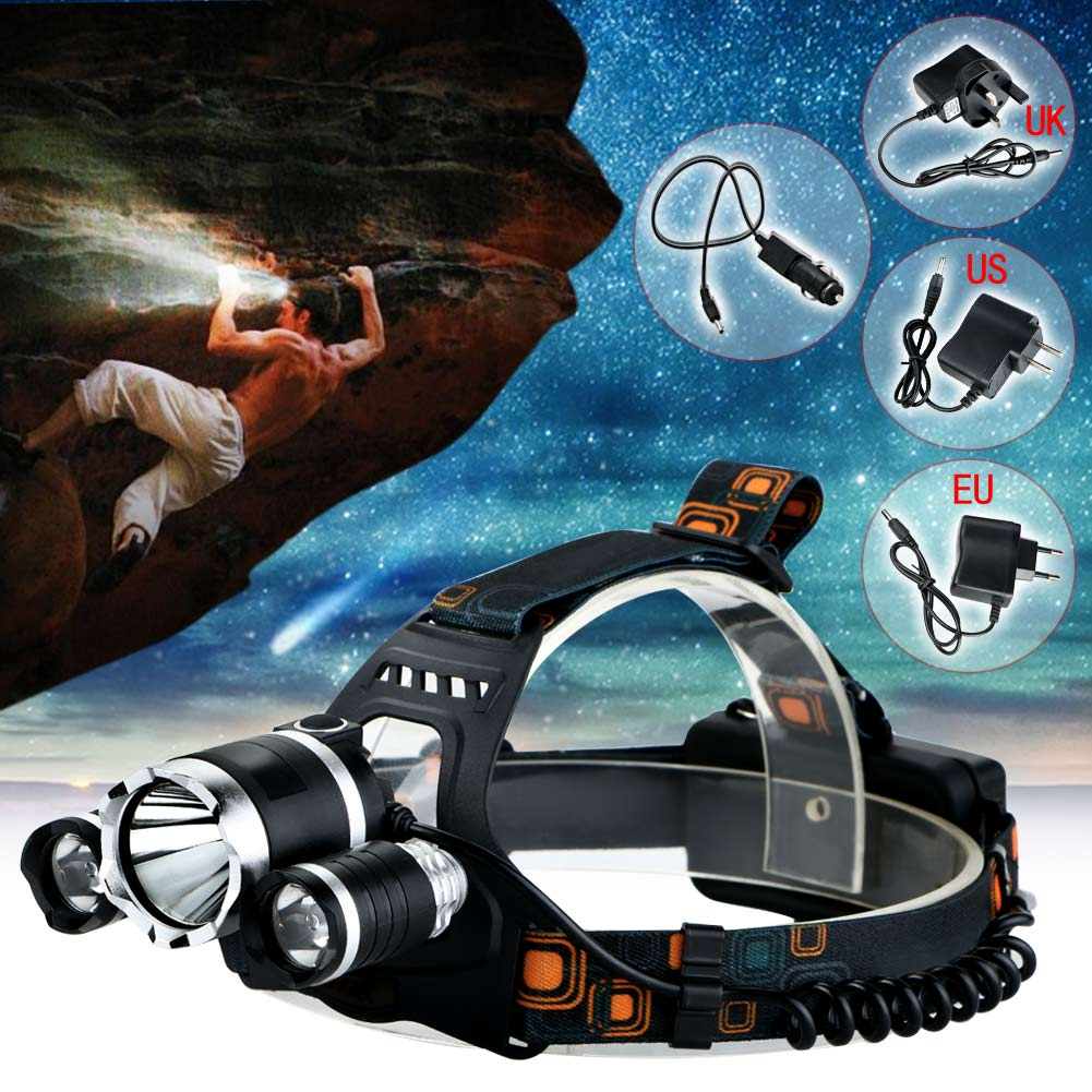 HOT 4 Modes 6000LM LED Headlamp CREE XML T6 2R5 LED Rechargeable Headlight Head Lamp Spotlight +Charger(US EU UK)+CAR Charger