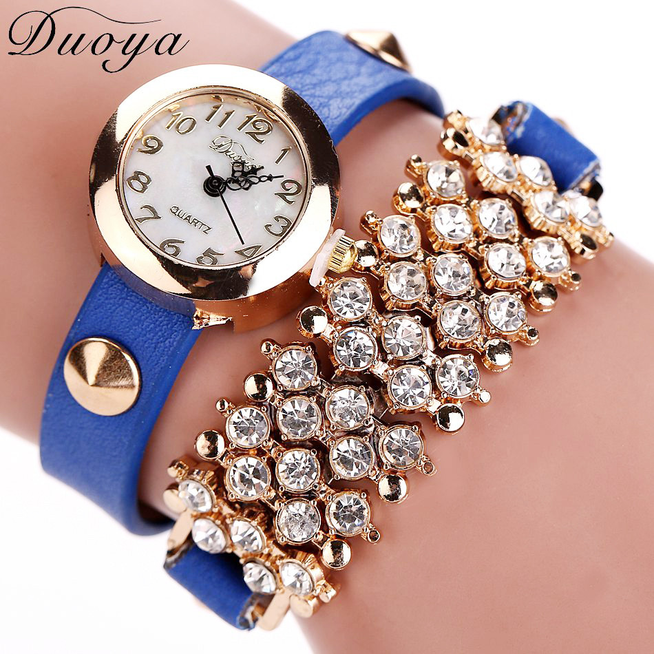 Fashion Casual Women Bracelet Watches Vogue Bow Crystal PU Leather Analog Quartz Wrist Watch Relogio Feminino fabulous 2016 quicksand pattern leather band analog quartz vogue wrist watches 11 23