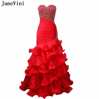 JaneVini Sparkle Beaded Red Plus Size Prom Dresses Long Sweetheart Backless Ruffles Organza Mermaid Women Evening Pageant Gowns