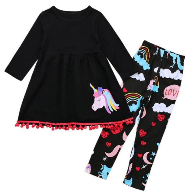 a40682d92 Trajes de bebé niños conjuntos de ropa de niña trajes de dibujos animados  pony camiseta blusa