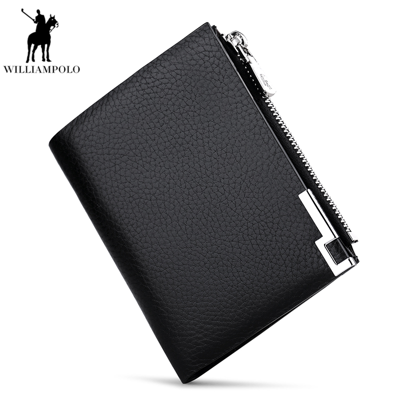 WILLIAMPOLO 2018 Genuine Leather Men Wallet Short Bifold Purse Small Coin Pouch Fashion Cow Leather Metal Logo Wallet PL210 williampolo mens mini wallet black purse card holder genuine leather slim wallet men small purse short bifold cowhide 2 fold bag