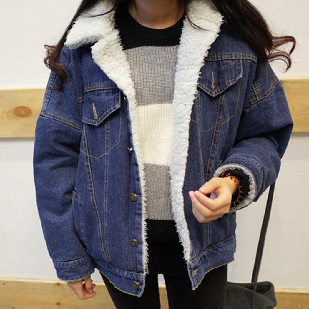 Épaissir Automne Veste Vêtements Jean Manteau Poche Blue Outwear 2018 Mode Laine Manteaux Denim Lâche Femme D'agneau Chaud Hiver PqYWnzf