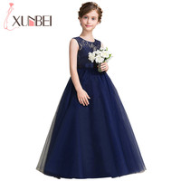Navy Blue Lace Flower Girl Dresses 2018 Soft Tulle O Neck Kids Evening Gowns Ball Gown
