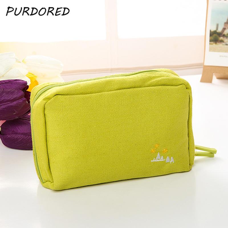 PURDORED 1 pc Large-Capacity Cosmetic Bag Canvas Korean Style Travel Makeup Bag Toiletry Organizer Case Kits Dropshipping