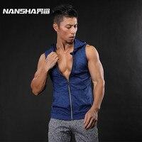 NANSHA Brand New Siłownie Bluzy Hoody Mężczyźni Siłownia Policzkowe Stałe Swetry męskie Bluzy Sportowe Podkoszulki Bez Rękawów