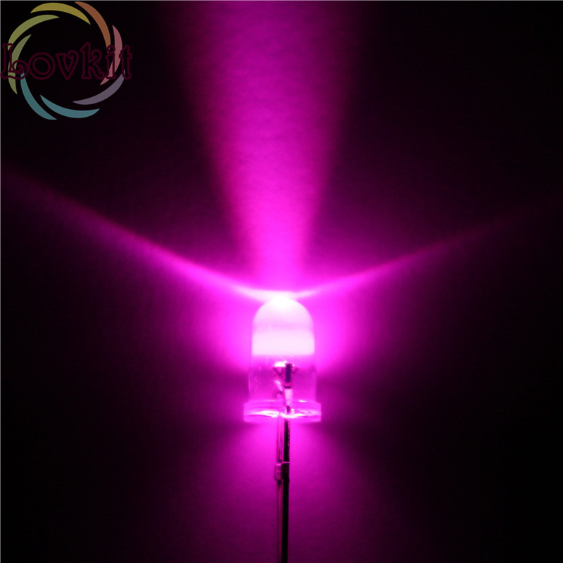 100pcs High Quality 5MM Round Top Pink Leds 5mm Ultra Bright LED Light Emitting Diodes Electronic Components Wholesale Retail