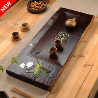 Boutique Color painted tea tray ebony wood kungfu tea set Chinese style Living room tea table cha hai home decoration accessorie