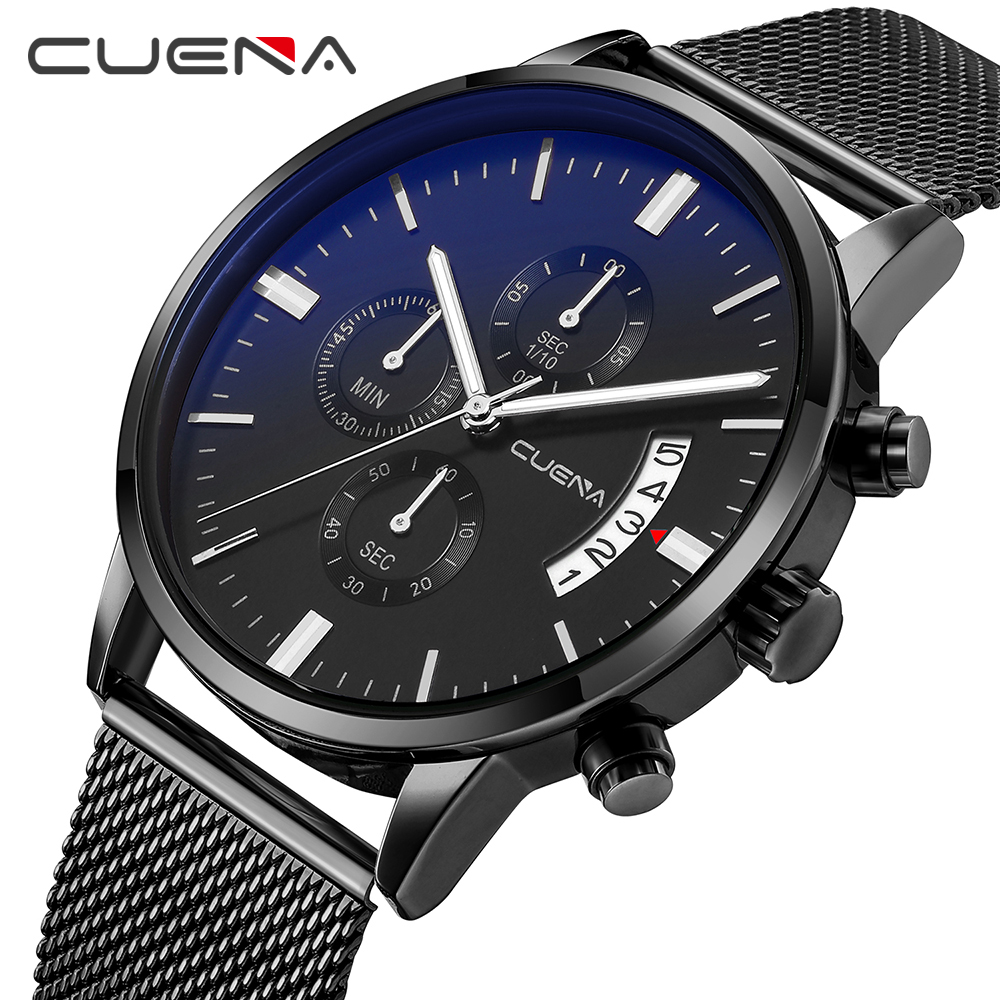 CUENA Mens Watches Top Brand Luxury Business Quartz Watch Men Steel Mesh Strap Casual Waterproof Sport Watch Relogio Masculino watches top brand luxury chronograph clock men business casual creative mesh strap quartz watch relogio masculino