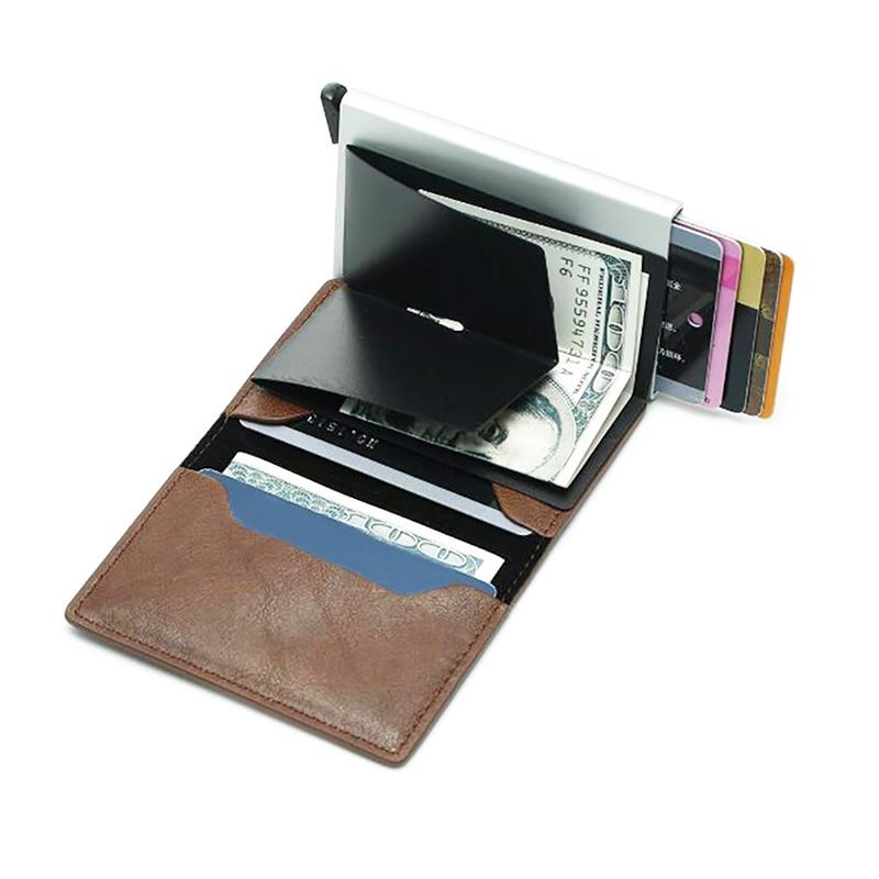 Novo 2019 Homens de Metal Multifuncional Pacote de Suporte de Alumínio RFID Anti-Magnético Automático Pop-Up ID Cartão de Crédito Caixa caso Carteira