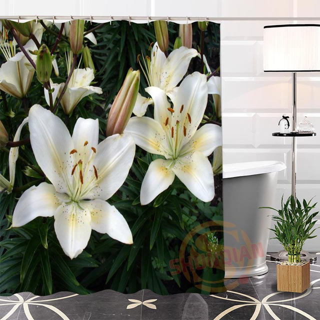 New Arrival Custom Lily1 Fabric Shower Curtain Bathroom Waterproof Popular Hot Modern 100