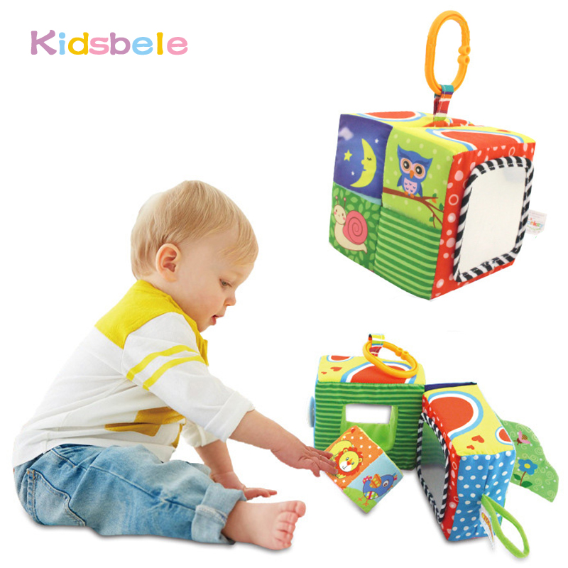 Kids Colorful Animal Activity Cloth Book Baby Early Educational Toys Shape Soft Rattles Cube Toys For 0-12 Months