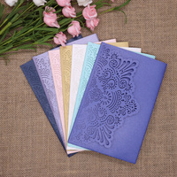 40pcs/pack Glitter Wedding Invitation Card Cover Shinny Pearl Paper Carved Invitations Birthday Baptism Festival Party Favor