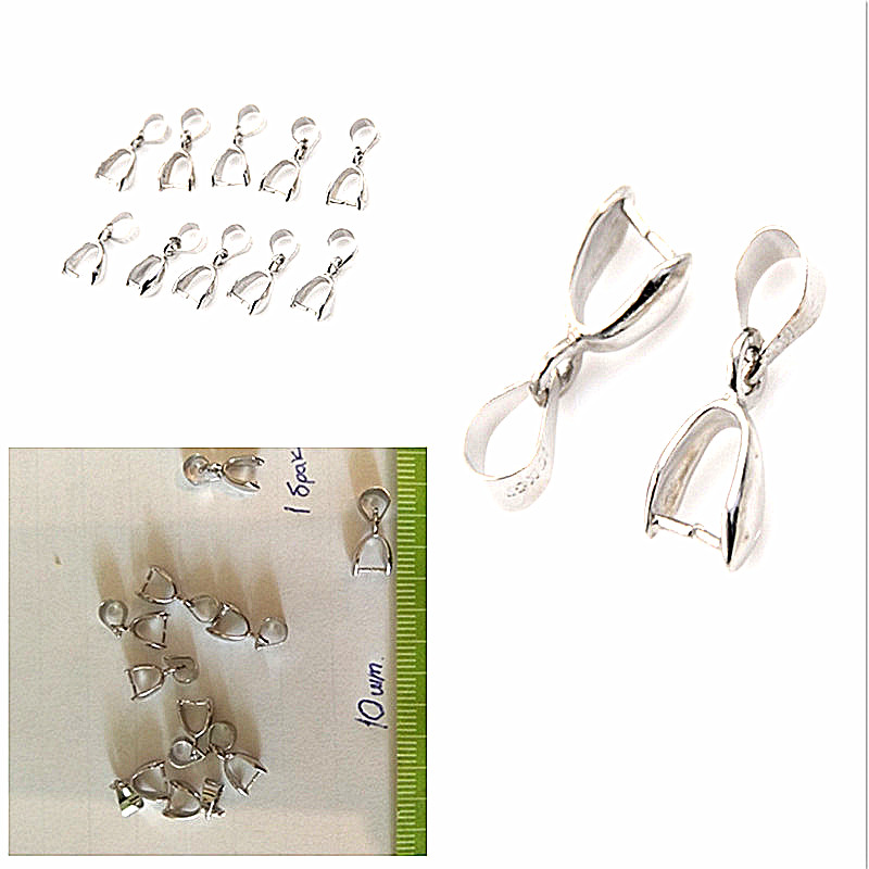 10PCS 925 Sterling Silver Handmade Jewelry Findings 925 Stamped Silver Bail Connector Bale Pinch Clasp Pendant