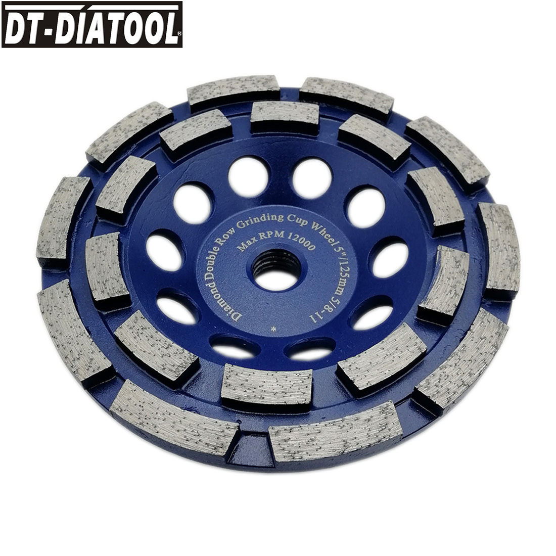 DT-DIATOOL 1piece 5inch/125mm Double Row Diamond Grinding Cup Wheel 5/8-11 thread for Concrete Brick Hard Stone Granite Marble dt diatool 2pcs dia 7 double row diamond grinding cup wheel with 5 8 11 thread for concrete hard stone granite dia 7inch 180mm