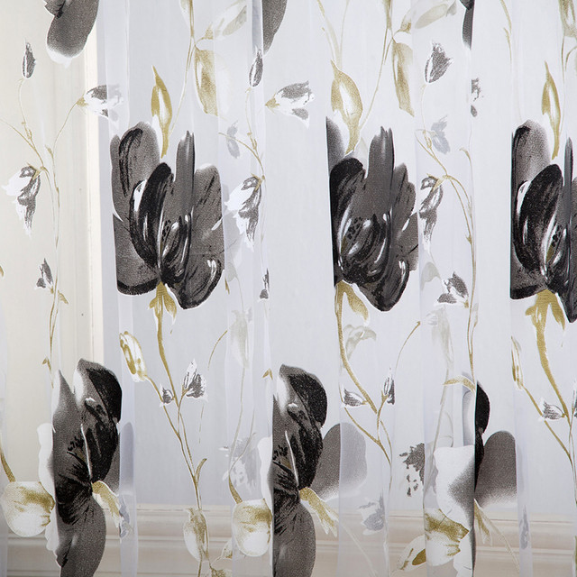Vines Leaves Tulle Door Window Curtain Drape Panel Sheer Scarf Valances Drapes In Living Room Home Decor Sheer Voile Valances 5