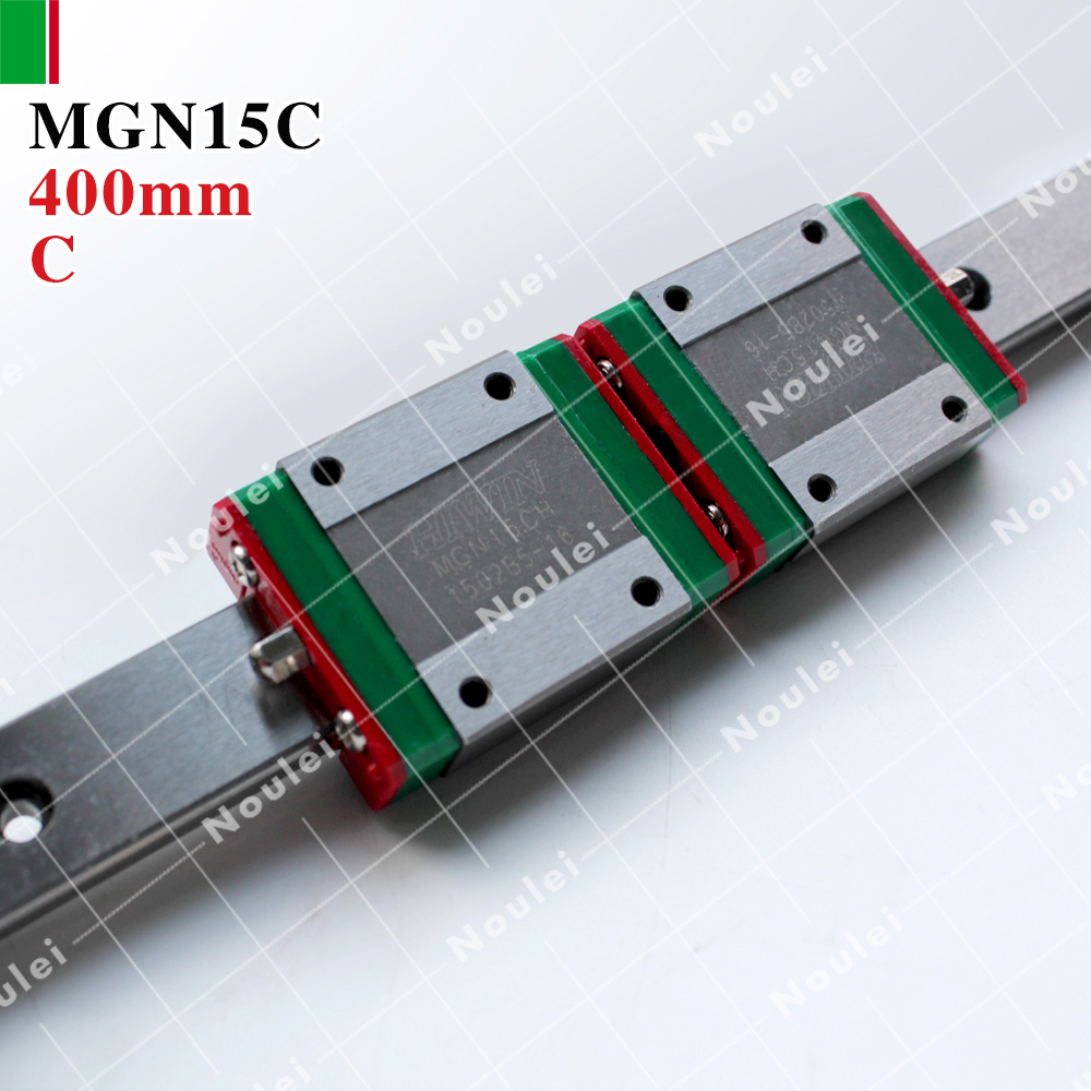 HIWIN MGN15C mini MGN15 slide block with 400mm MR15 linear guide rail 15 mm for 3d printer High efficiency CNC parts metal frame linear guide rail for xzy axix high quality precision prusa i3 plus creality 3d cr 10 400 400 3d printer diy kit
