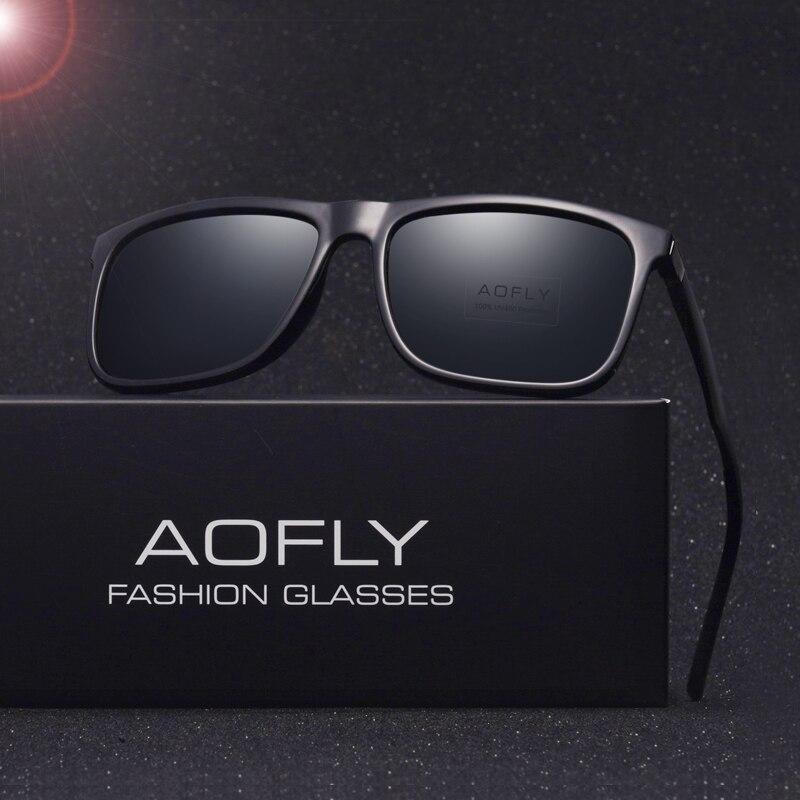 Бренд AOFLY классические солнцезащитные очки Для мужчин для вождения черный квадрат Рамка очки мужской Защита от солнца Очки для мужчин Óculos ...