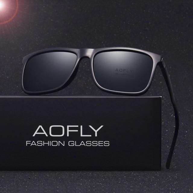 AOFLY Brand Classic Polarized sunglasses Men Driving Square Black Frame Eyewear Male Sun Glasses for men Oculos Gafas AF8027