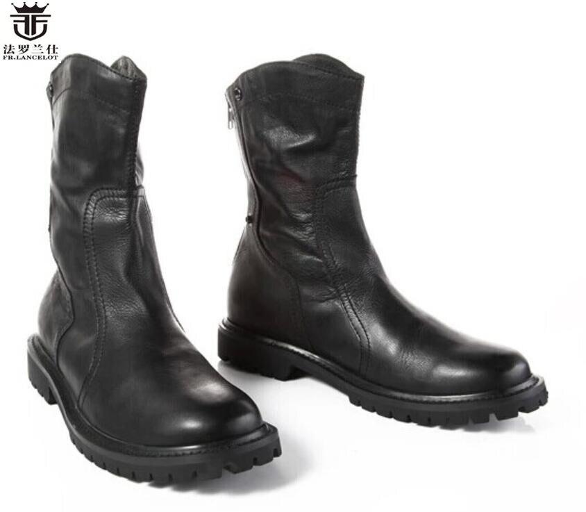 2018 fr. ланселот Лидирующий бренд ботинки челси натуральная кожа мужские зимние ботинки Роскошный дизайн до середины икры молния сзади Мужск