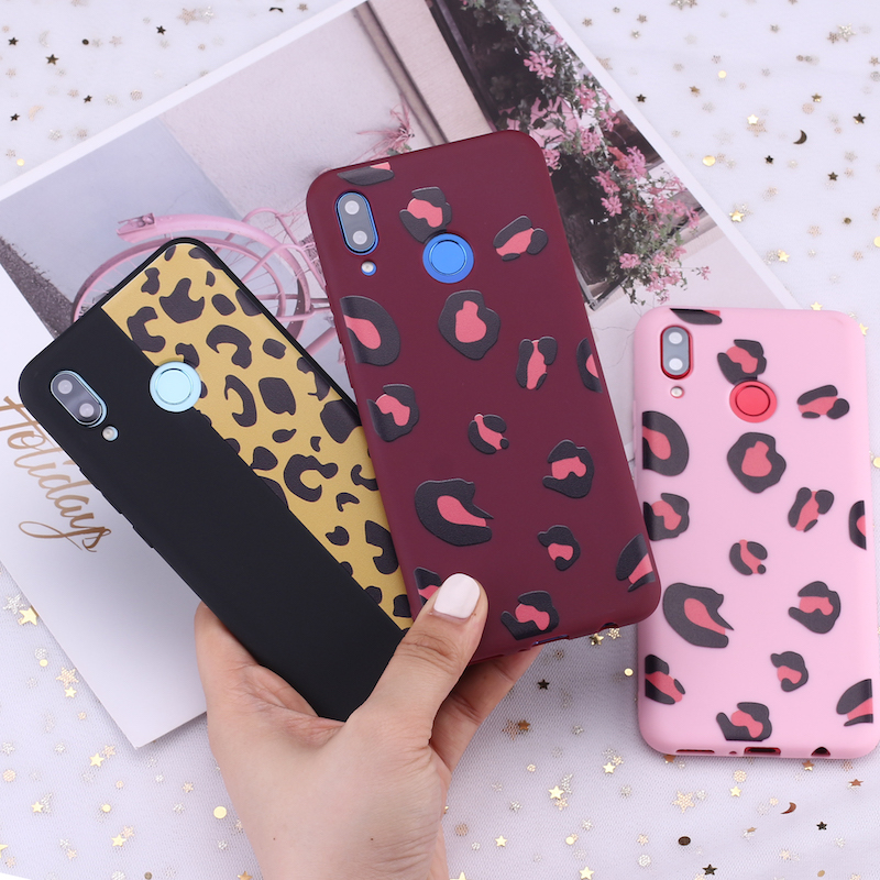 For Huawei Honor <font><b>Mate</b></font> 10 <font><b>20</b></font> Nova P20 P30 P Smart Leopard Print Pink <font><b>Sexy</b></font> Candy Silicone Phone Case Cover Capa Fundas Coque image