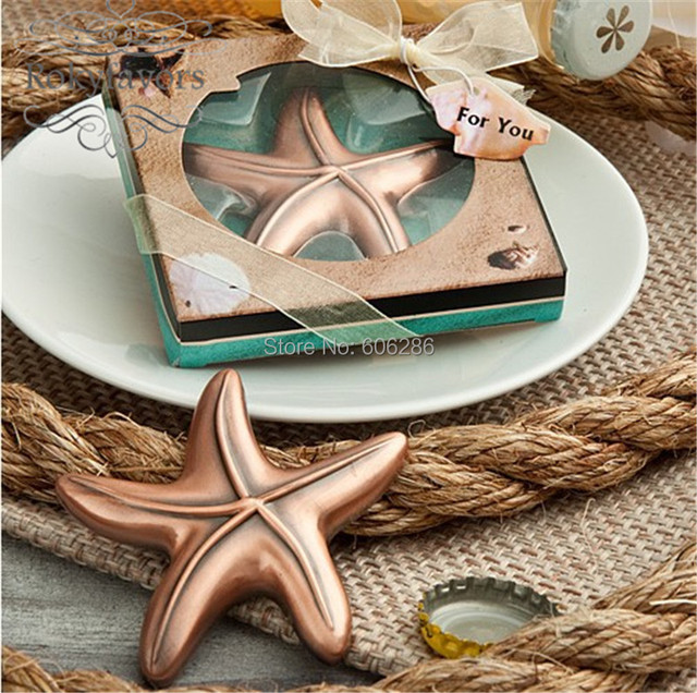50pcslot new bridal shower beach theme starfish design beer bottle opener wedding return gifts