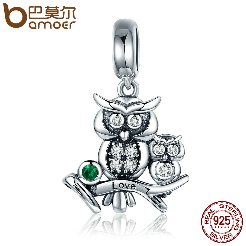 BAMOER Genuine 100% 925 Sterling Silver Cute Owl Love Story Pendant Charms fit Bracelets Necklace Jewelry Accessories SCC425 wostu authentic 100% 925 sterling silver cute owl love story charms fit original wst bracelets diy jewelry gift cqc425
