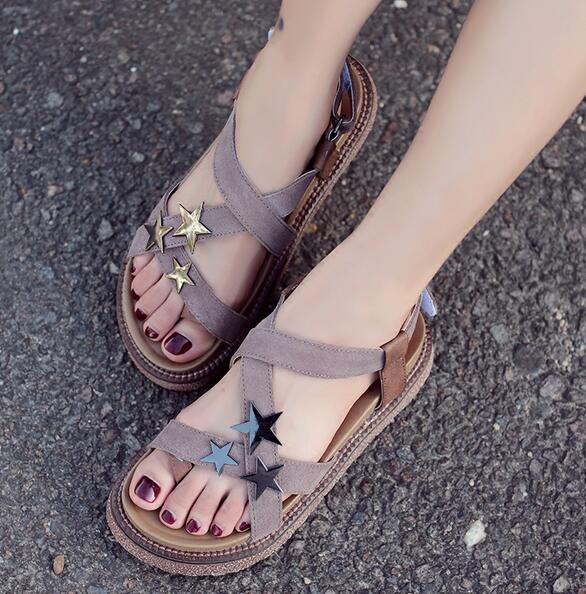 ФОТО Women Fashion Sandals Hook & Loop Flats Platform Round Toe Summer Retro Roman Casual