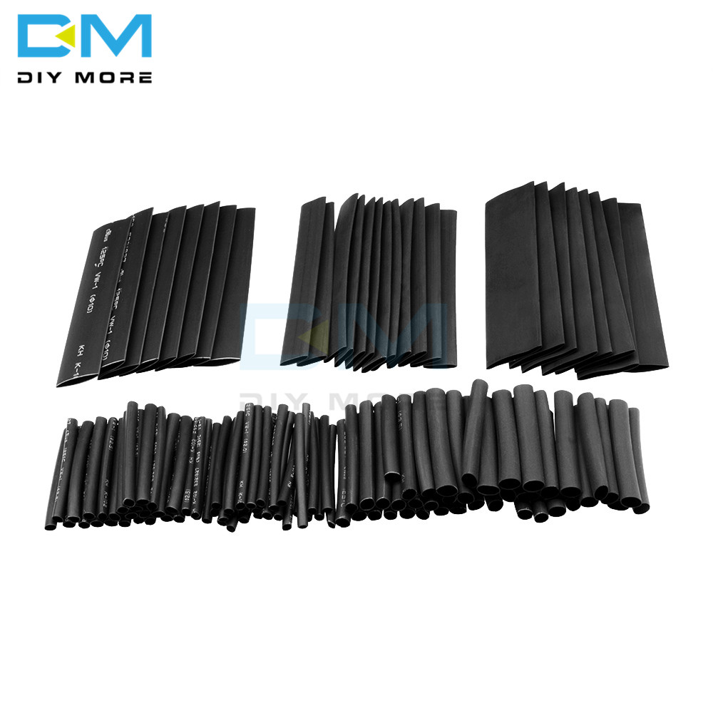 127Pcs Black Polyolefin Weatherproof Heat Shrink Sleeving Tubing Insulation Assortment Kit Heat Shrink Tubing Set Cable Sleeves