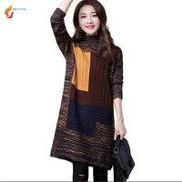 2017 Autumn Winter New Fashion Women Set Head Sweater Medium Long Thicken Warm Loose Big Yards
