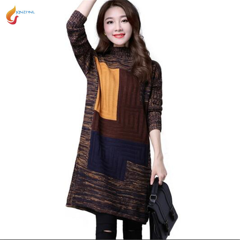 2019 Autumn Winter New Fashion Women Set head Sweater Medium long Thicken Warm Loose Big yards Leisure Knitting Sweater G1994