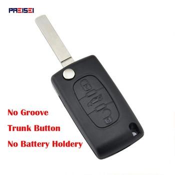 PREISEI 20pcs/lot 3 Button Trunk CE0523 No Battery Holder Replacement Flip Car Key Cover Case For Citroen Blade No Groove
