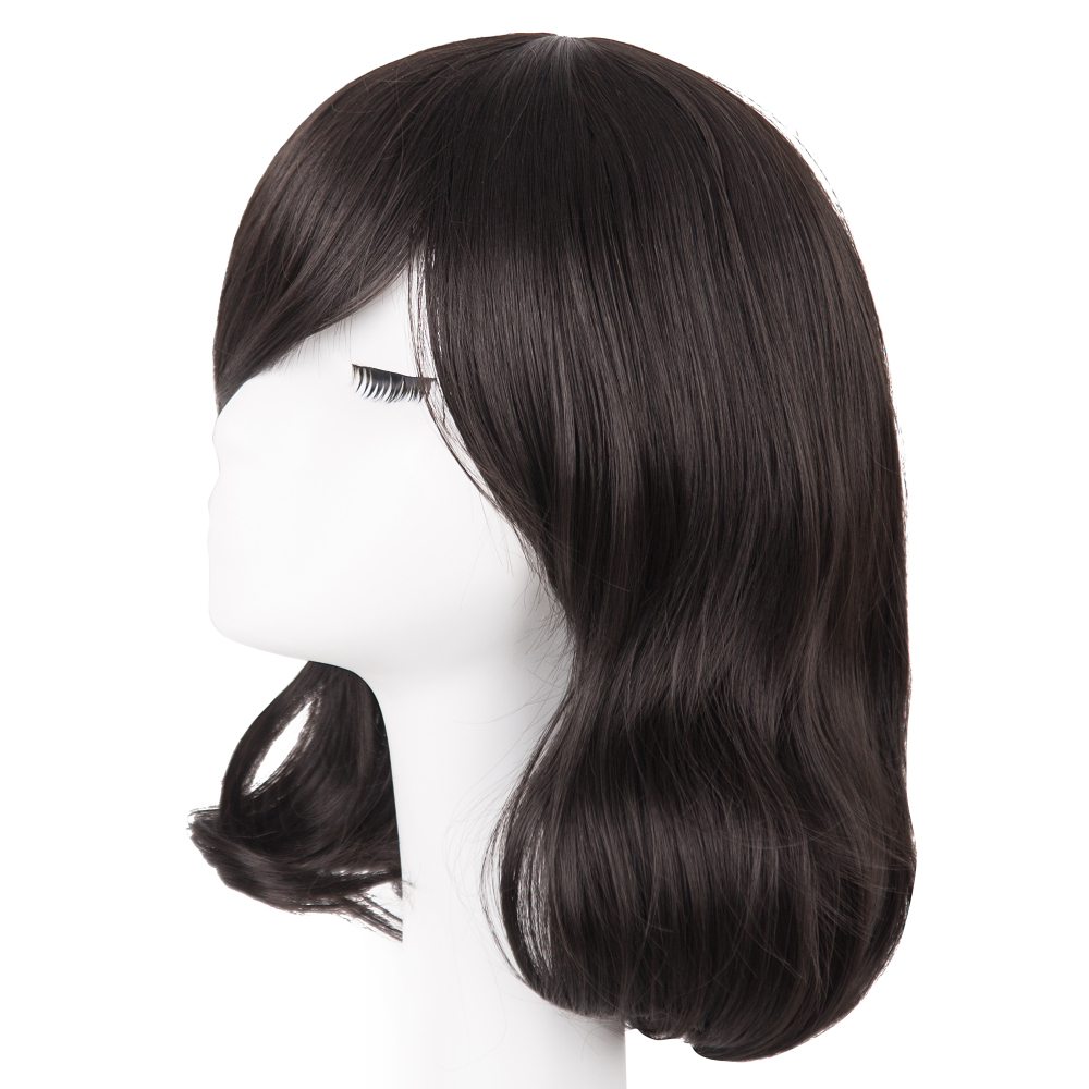 Black Bob Wig Fei-show Synthetic Heat Resistant Fiber Hairpieces Oblique Fringe Bangs Short Wavy Hair Halloween Carnival Hairset Synthetic Wigs