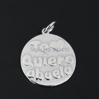 Purity 925 Sterling Silver Pendant Spanish I Love You Grandmother Message Charms DIY Charms With Labster
