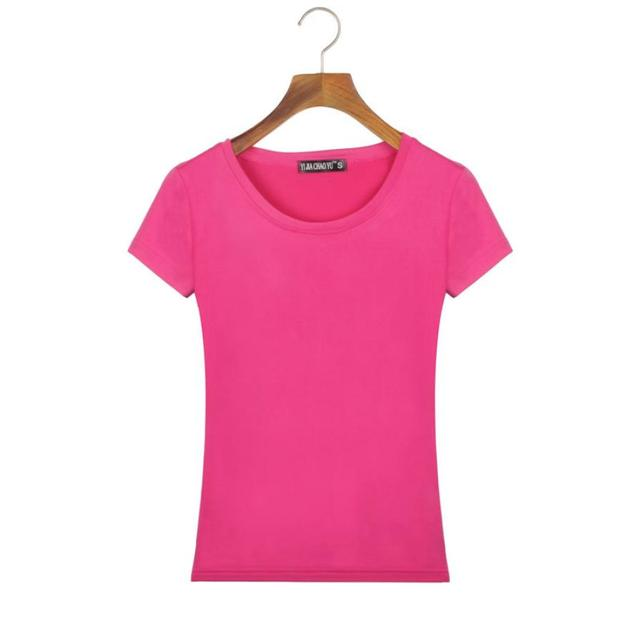 Female T Shirt Women Summer Short Shirts Solid O-Neck Casual Shirt Tops Plus Size S/M/L/XL/XXL Camiseta Feminina#B706