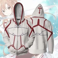 High quality dress Latest cartoon Sword Art Online Asuna Cosplay Costume 3D Print zipper Sweatshirts for adult