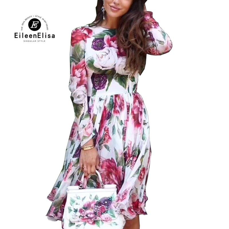 Été automne robe 2018 à manches longues Floral imprimé robe 2018 nouvelle mode femmes automne
