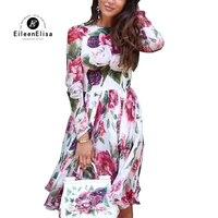 Лето осень платье 2018 с длинным рукавом платье с цветочным принтом Новинка 2018 года модные женские туфли Осень