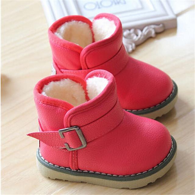 2016 Marca Niños Impermeables Botas de Invierno Zapatos de Bebé Niñas Niños Botas de Algodón Acolchado Zapatos de Tobillo