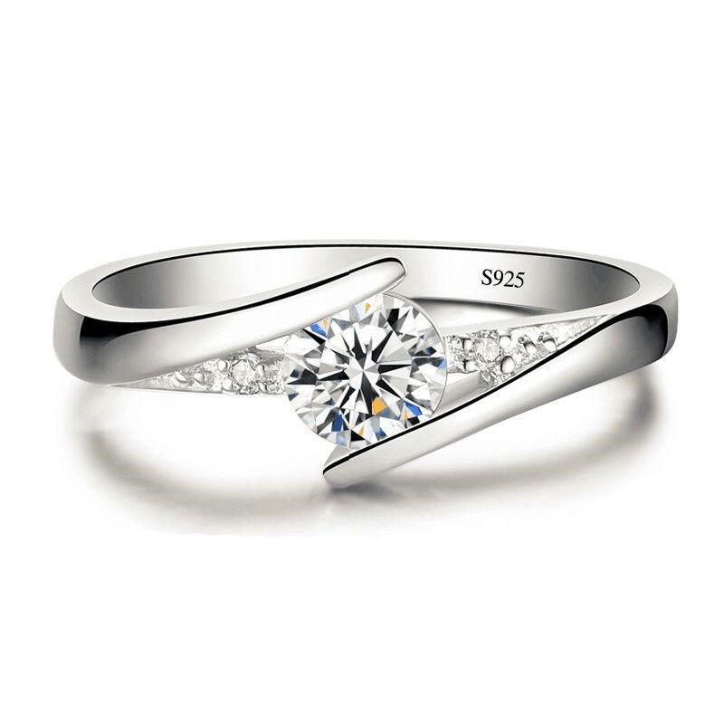 Zircon Engagement Ring Women Jewelry Simple Valentines Day Gift 925 Silver