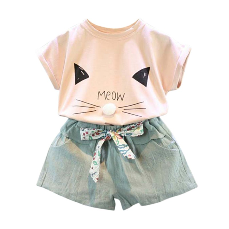 Kids Girl Clothes Fashion Cartoon Girls Summer Set Clothes Baby Suits Kids cat printed T Shirt +Pants Children Clothing Set