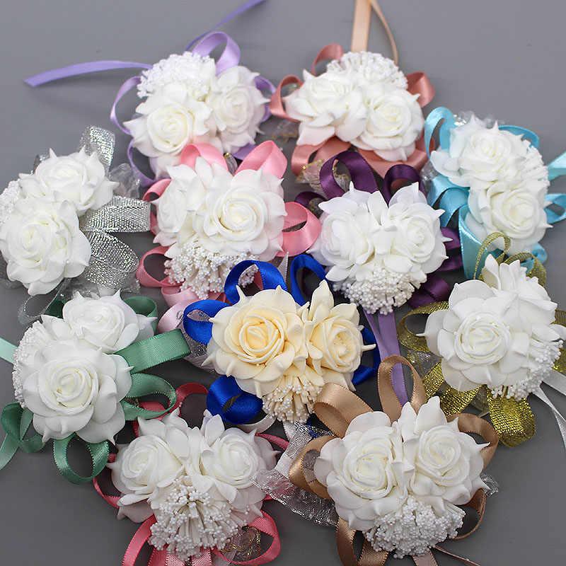 Pernikahan Dekorasi Mariage Rose Gelang Tangan Bunga Sutra Renda PE Busa Buatan Pengantin Bridesmaid Pergelangan Tangan Bunga Natal