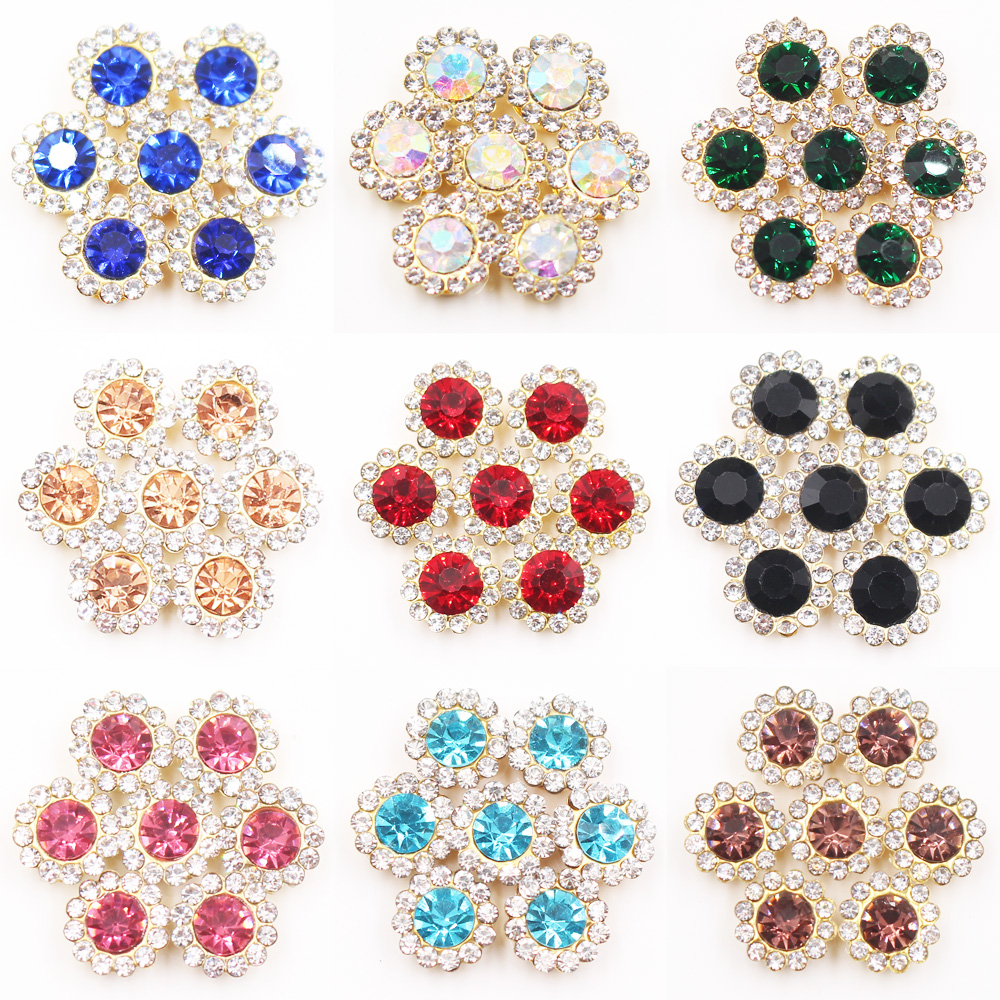 12mm 20pcs Flower Shape Gold Claw Rhinestones Strass Non Hotfix Glue on Rhinestones For Clothes Garment Decoration Crafts Stones in Rhinestones from Home Garden