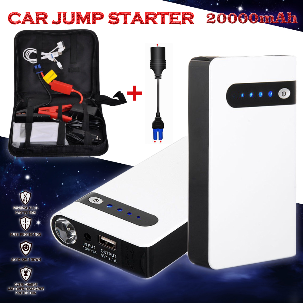 12v 20000mah white portable car jump starter power bank emergency auto battery booster pack. Black Bedroom Furniture Sets. Home Design Ideas