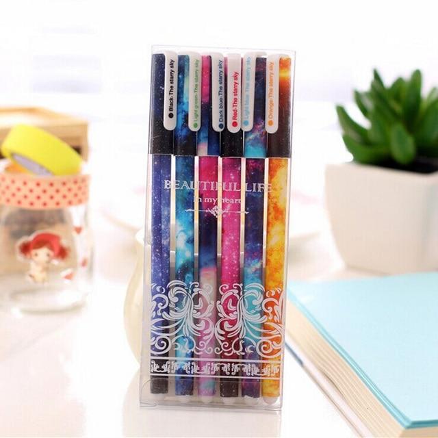 6 pcs/set Color gel ink pens set Garden flower Starry star Cartoon dots 0.38mm ballpoint pen Stationery School supplies F244