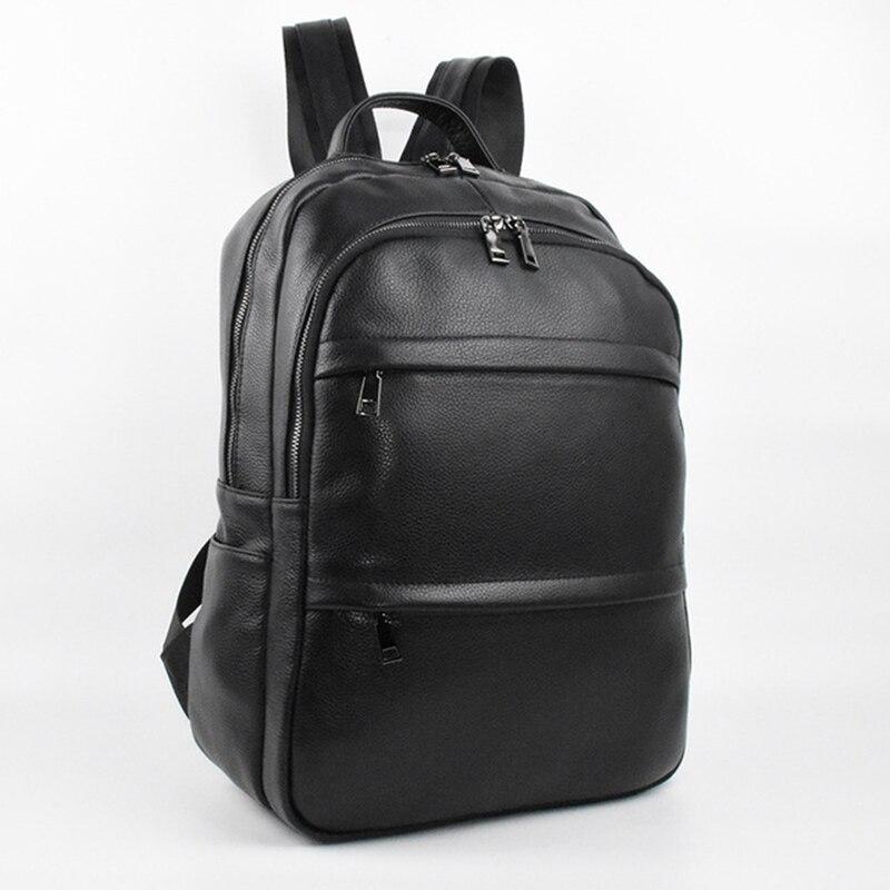 Sac à bandoulière en cuir véritable pour hommes sac à dos d'affaires pour hommes sac à dos de voyage pour ordinateur portable femmes sac à dos sac d'école noir mochila masculina