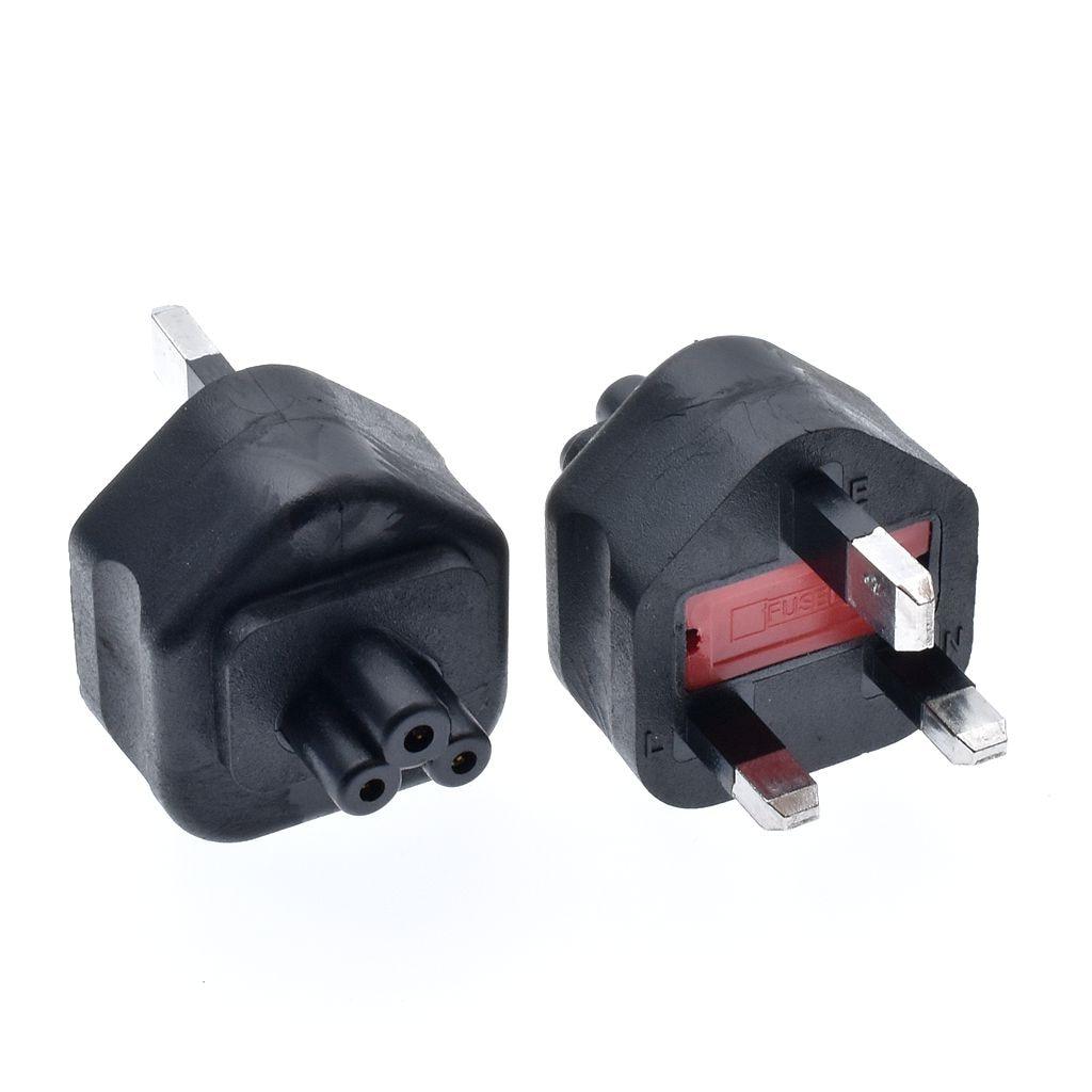 HTB1FiA7X5rxK1RkHFCcq6AQCVXan - High quality black Copper Standart 10A 250V British standard to IEC320 C5 power adaptor plug convert socket