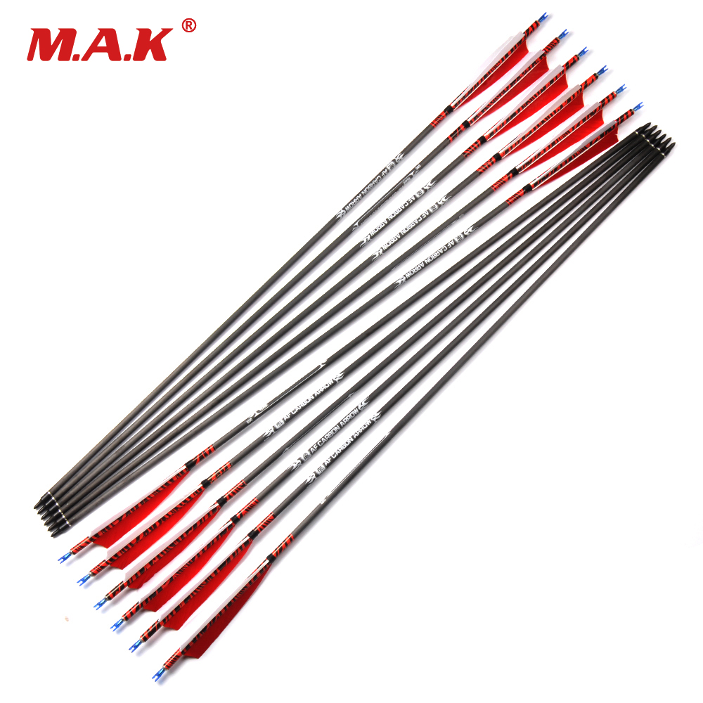6/12/24 pcs Pure Carbon Arrows Length 80cm Spine 500 with Turkey feather for Longbow Recurve Bow Archery Hunting 12 pk wooden arrows turkey zebra patton feather wood shaft archery recurve bow longbow