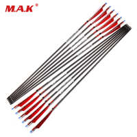 6/12/24 pcs Pure Carbon Arrows Length 80cm Spine 500 with Turkey feather for Longbow Recurve Bow Archery Hunting