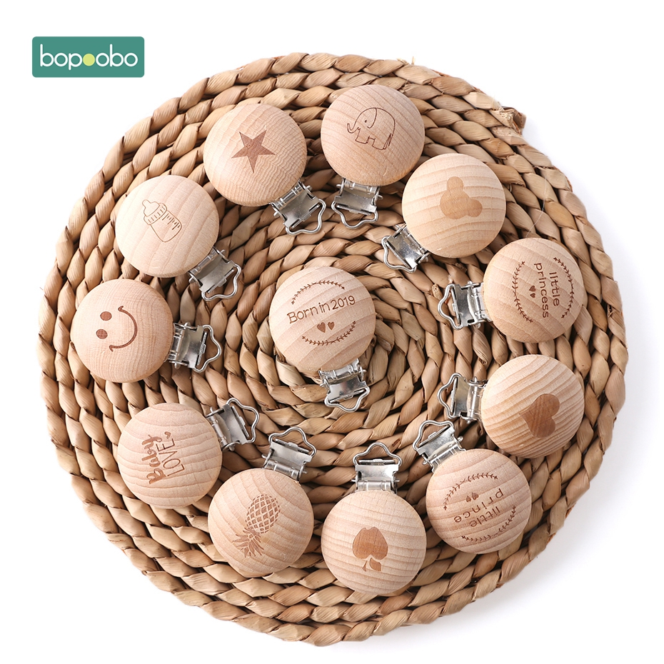 Bopoobo 10pcs Wooden Teether Wooden Baby Children Pacifier Holder Clip Infant Cute Printing Round Nipple Clasps For Baby Product