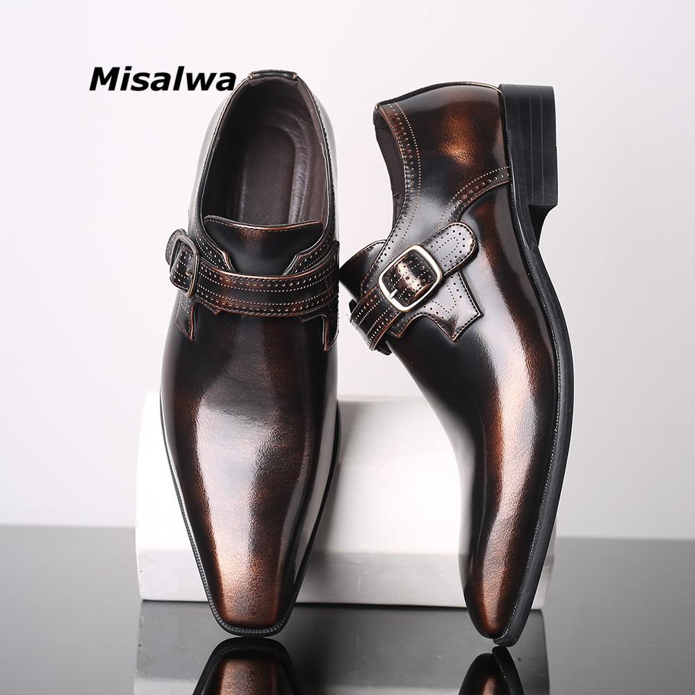 Leather Men Dress Slip On Loafer Metal Business Pointed Toe Wedding Formal Shoes